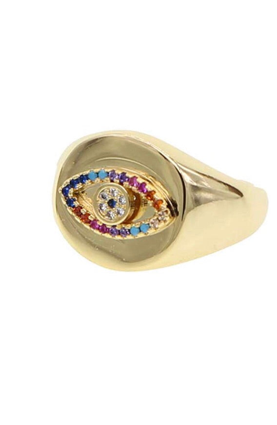 Pave Rainbow Eye Ring