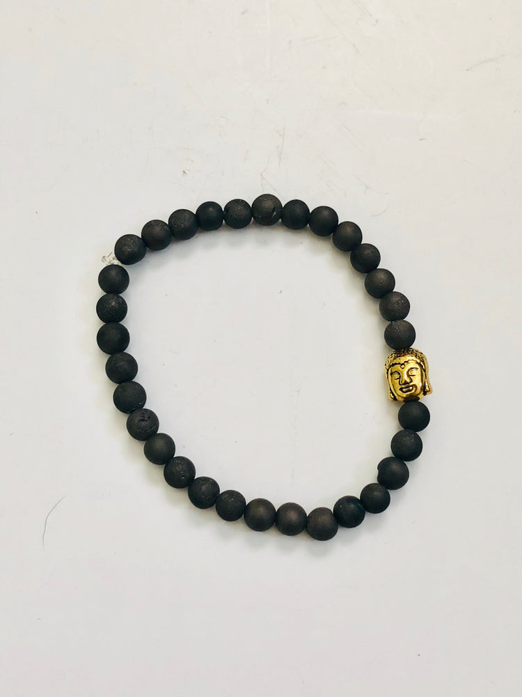 Men's Grey Druzy Agate and Gold Buddha Bracelet