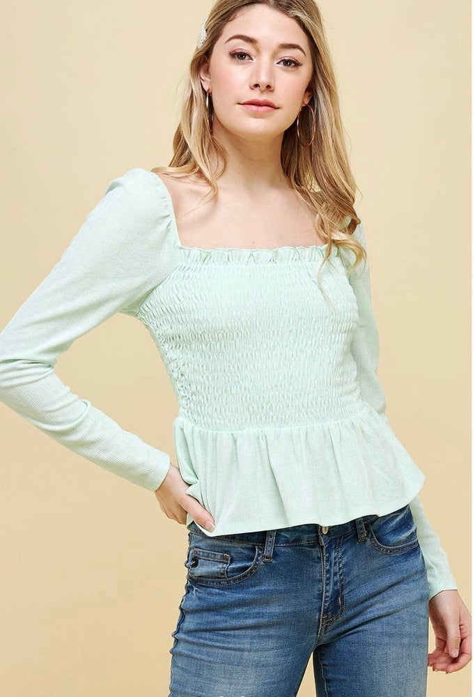Mint to Be Smocked Top