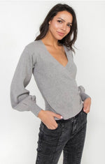 Lizzie Puff Sleeve Ribbed Sweater