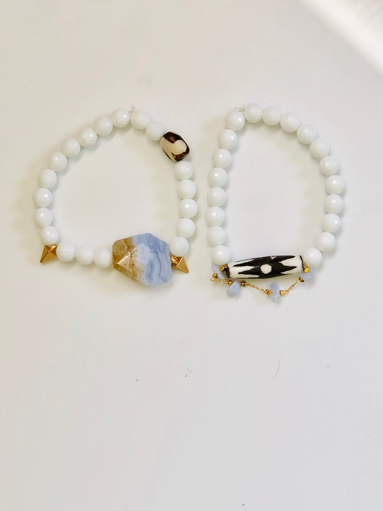 White Agate & Blue Lace Agate Set