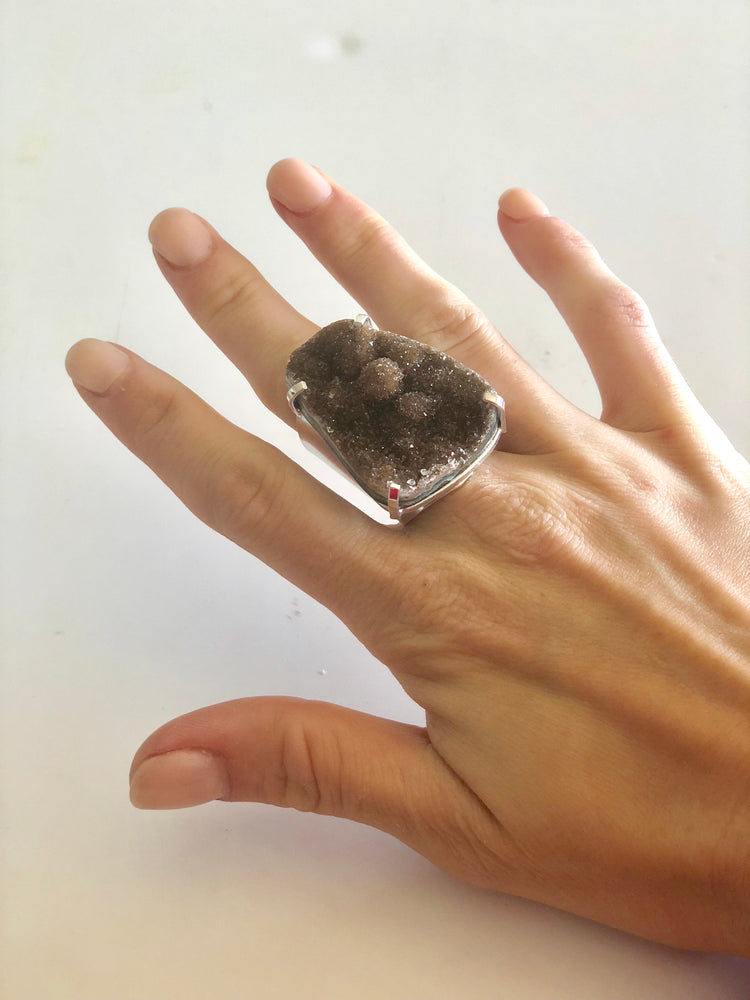Brown Amethyst Cigar Ring