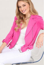 Think Pink Suede Moto Jacket