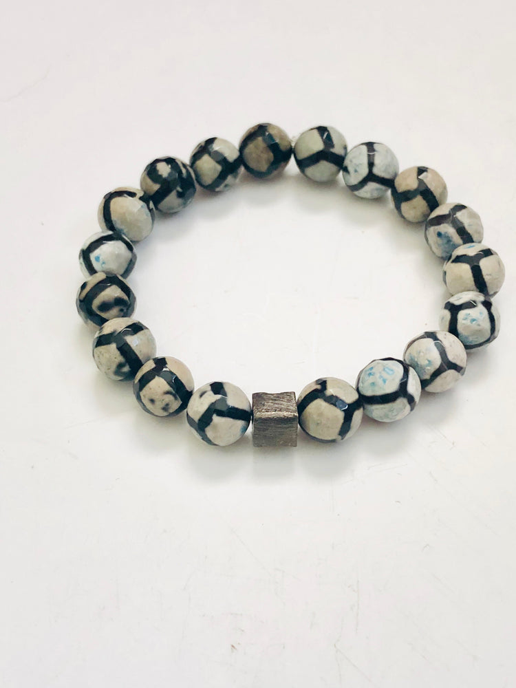 Men's Fire Agate and Hematite Cube Bracelet