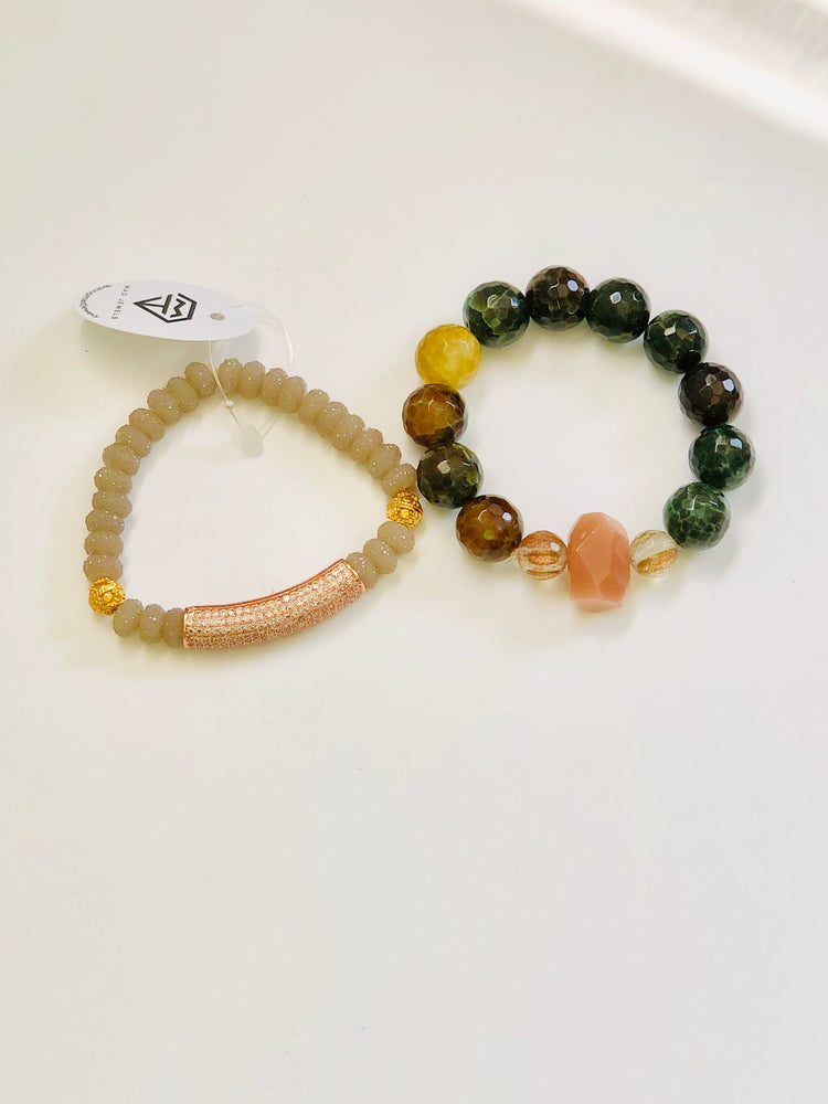 Rose & Green Quartz Stack