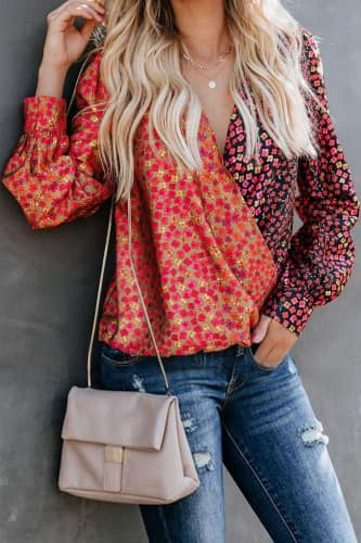 Mixed Messages Faux Wrap Blouse