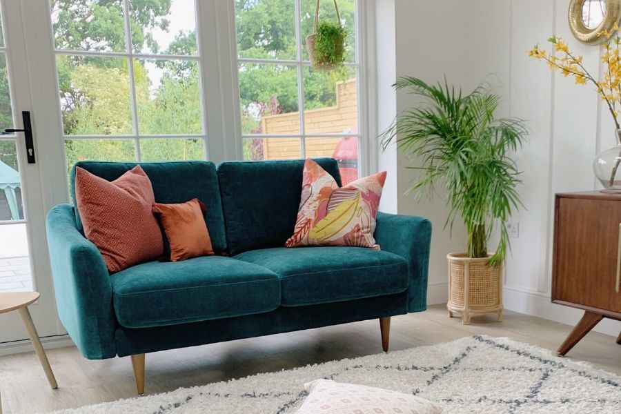 Snug Sofa - The Rebel 2 Seater Sofa in a Box in Teal with Brown Wooden legs