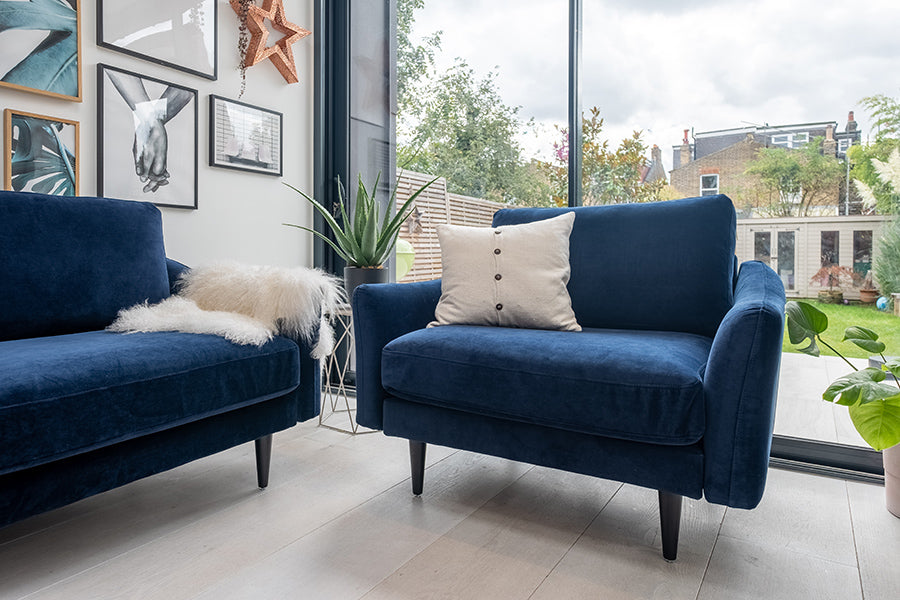 The Rebel 1.5 Seater Snuggler in Navy Velvet with black legs (oversized armchair) - Snug, The Sofa in a Box Company