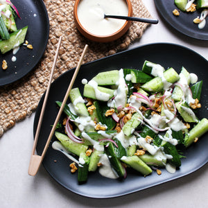 Cucumber & Walnut Salad with Yogurt Dressing