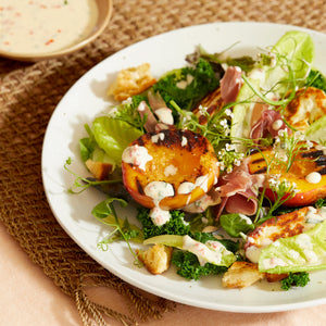 Grilled Nectarine Salad with Spicy Yogurt Dressing