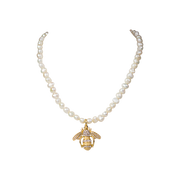 "15-17"" Fresh Water Pearl Créme Bee Necklace"