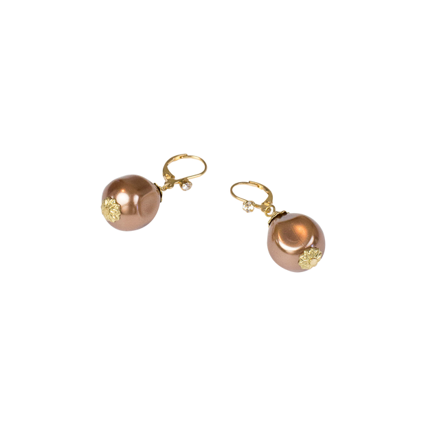 "1.25"" Coffee Baroque Pearl Drop Earring"