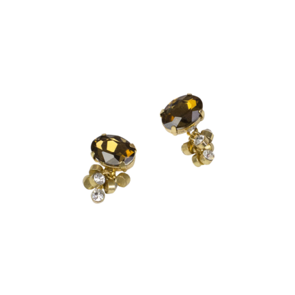 "3/4"" Amber/Crystal Cluster Earring"