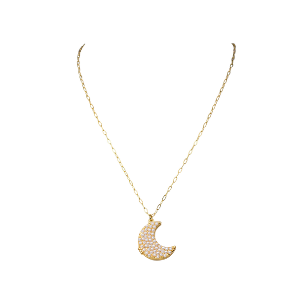 "24-26"" Pearl Moon Locket Necklace"