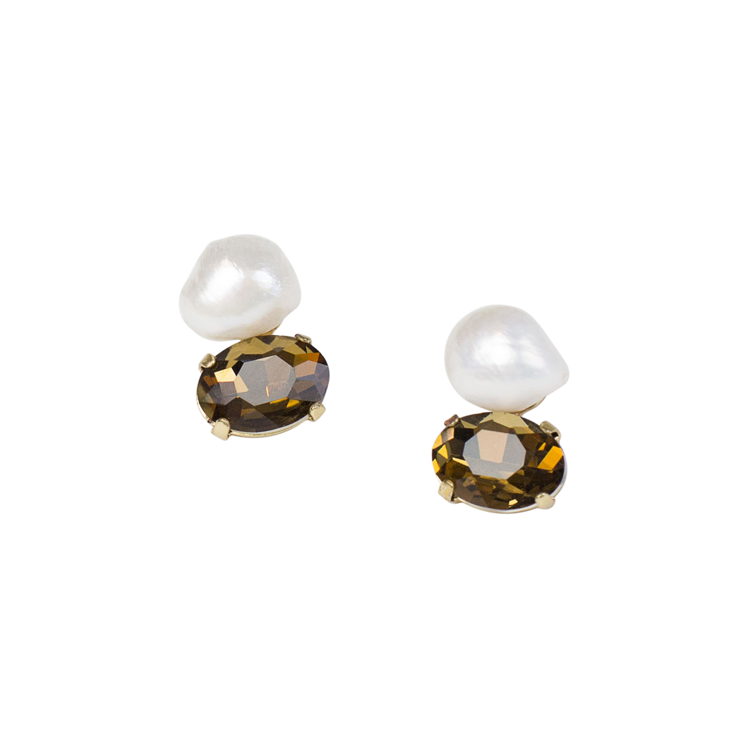 Baroque Pearl & Amber Post Earring