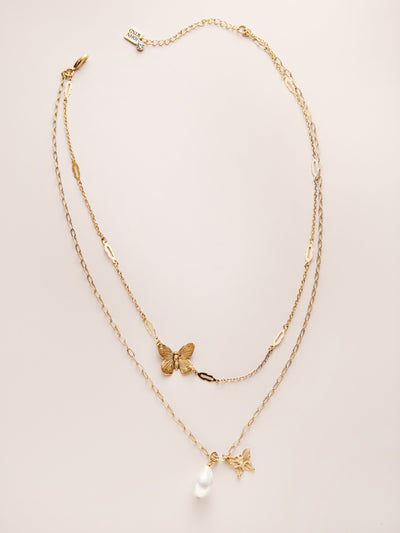 Butterfly Pearl Double Strand Necklace