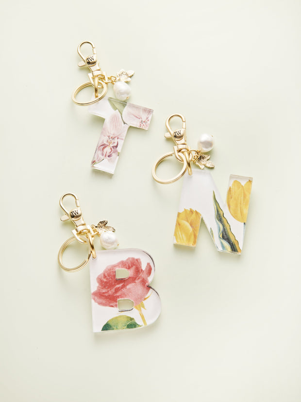 Floral Acrylic Initial Bag Charm and Keychains