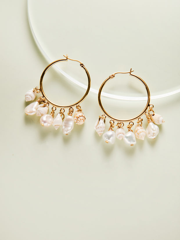Conch Pearl Hoops