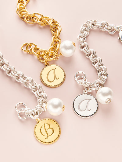 Sorority Gal Cotton Pearl Initial Bracelet