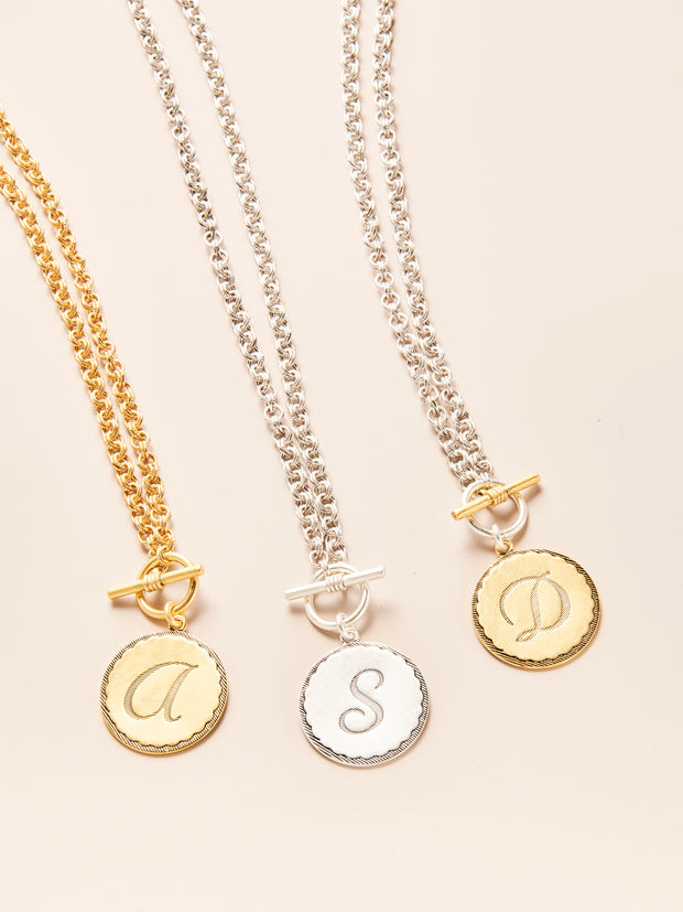 Toggle Sorority Gal Initial Necklace- Two Tone, Silver & Gold