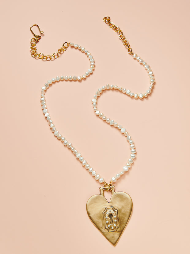 "36"" Heart Lock Brass Pendant"