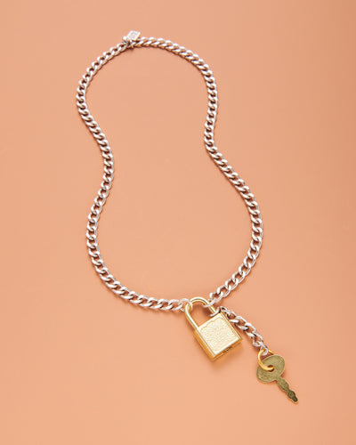 Two-Tone Padlock Chain Necklace