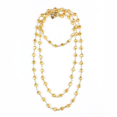 "60"" Petite Gold Baroque Pearl Necklace"