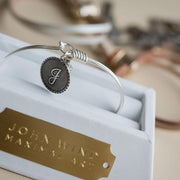 Mini Coin Initial Bangle, Gold, Silver or Rose Gold-Plated