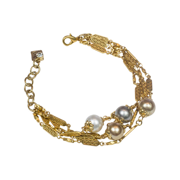 "8.25"" Adjustable Deco Cotton Pearl Bracelet"