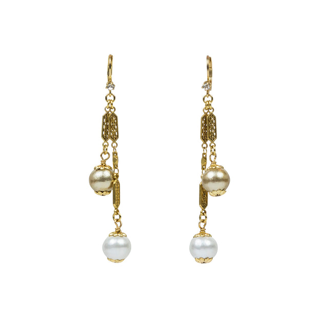 "3"" Swing Cotton Pearl Earring, gold or silver"