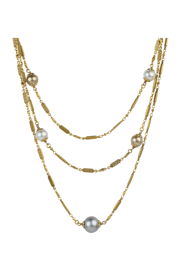 "18"" Triple Deco Cotton Pearl Necklace"