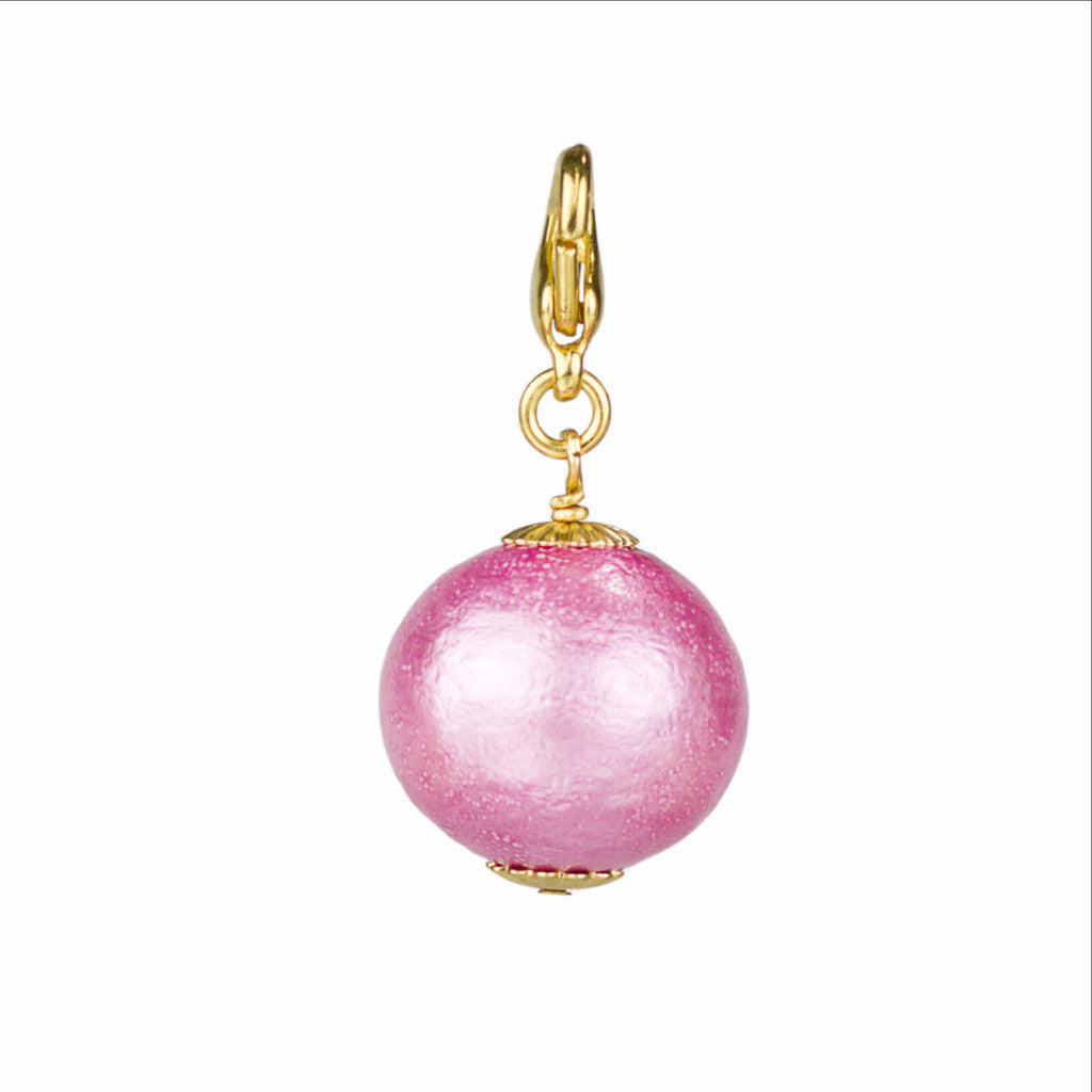Pink Cotton Pearl Charm - John Wind Modern Vintage Jewelry - 1