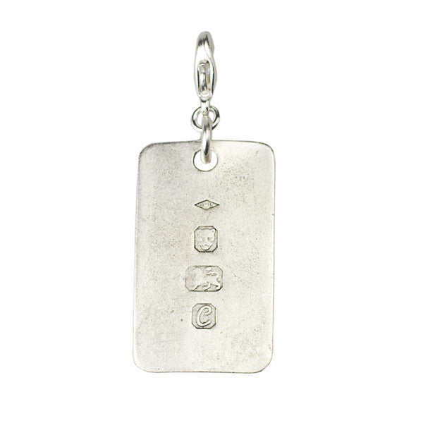 Stamped Dogtag Charm, Silver - John Wind Modern Vintage Jewelry
