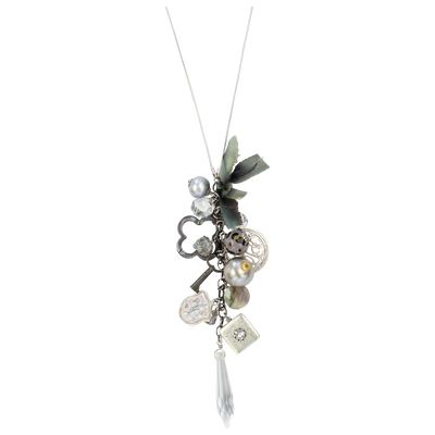 "32"" Limited Edition Greige Long Cluster Necklace"