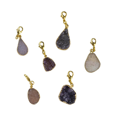 Natural Druzy Charms, Gold or Silver