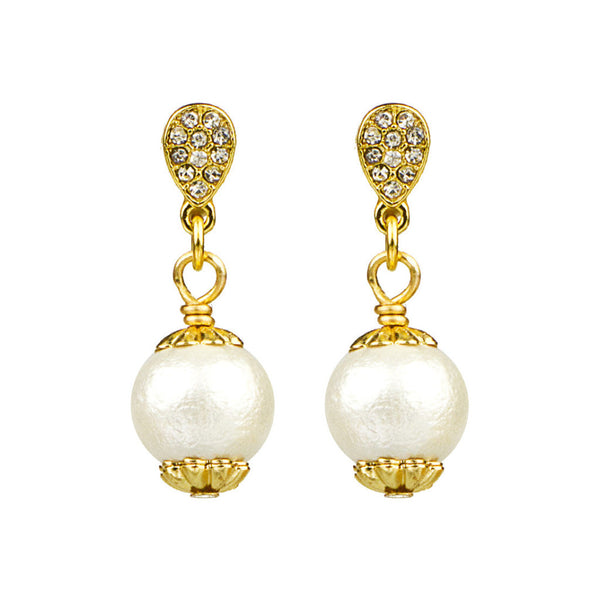Pave & Cotton Pearl Drop Earrings