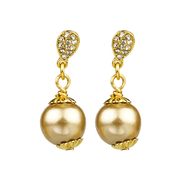 Pave & Cotton Pearl Drop Earrings - John Wind Modern Vintage Jewelry - 3