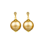 Pave & Cotton Pearl Drop Earrings, 20mm