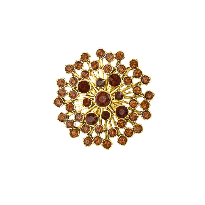 Burgundy Crystal Sunburst Brooch