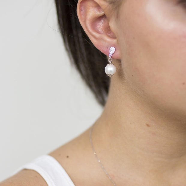 10mm White Pearl & Pav̩é Drop Earring