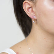 8mm Disco & Pav̩é Drop Gold Earring