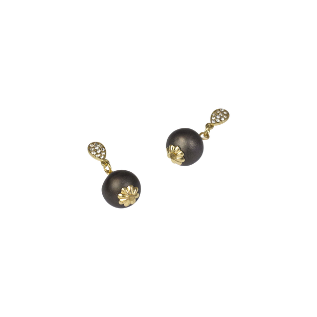 10mm Smoke Pearl & Pav̩é Drop Earring, 10mm
