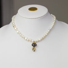 "15-17"" Fresh Water Pearl, Smoke/Crystal Necklace"