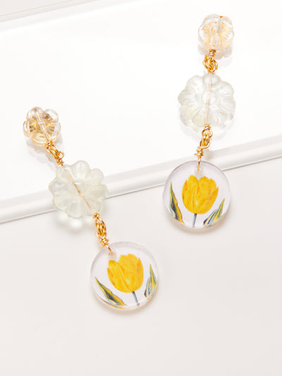 Lemon Tulip Drop Earring