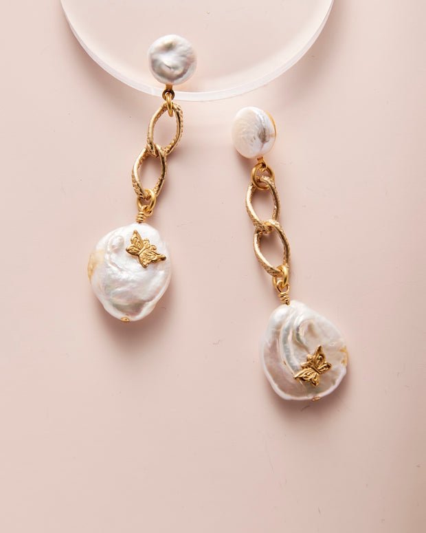 Pearl & Butterfly Cabochon Earrings