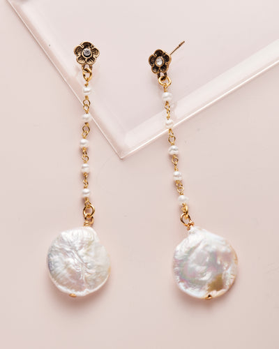 Pearl and Flower Cascade Earring