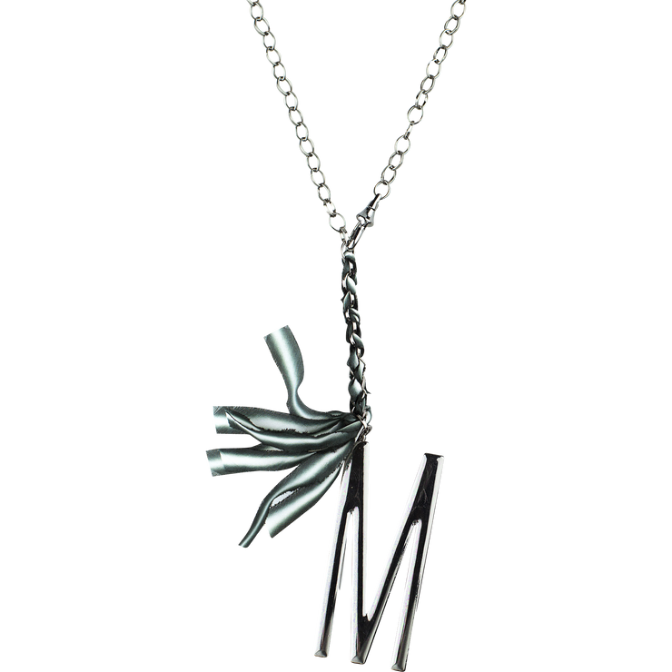 "30"" Gunmetal Lariat Ribbon Initial Necklace"