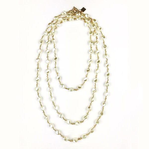 "60"" Petite Baroque Pearl Necklace, Cream"