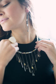 Grey Quartz & Gunmetal Fringe Necklace & Earring Gift Set