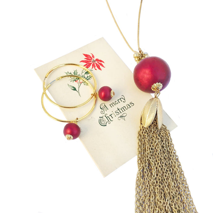Gift #9: Ruby Pearl Tassel Necklace & Earring Gift Set